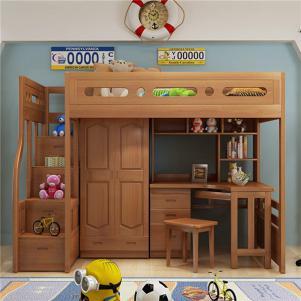 儿童上下床带护栏书桌书柜