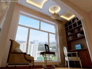 阳台书房装修效果图圆形石膏板吊顶装修