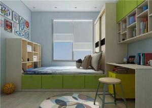 小空间卧室转角书桌加衣柜