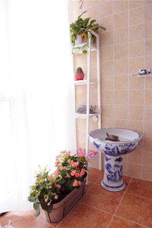 阳台洗衣池效果图青花瓷洗