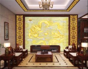 中式电视背景墙双龙戏珠