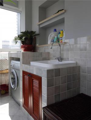瓷砖阳台洗衣池效果图