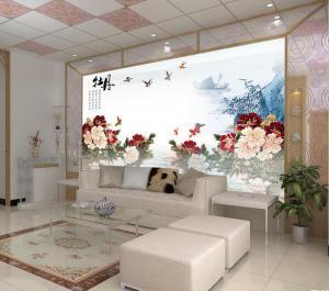 中式电视背景墙牡丹花
