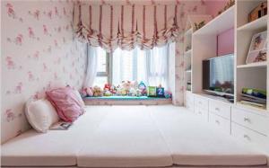 粉色飘窗榻榻米床图片