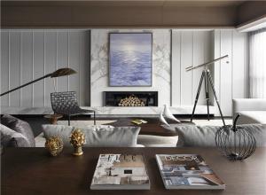 现代欧式沙发背景墙客厅设计