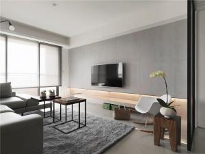 纯色系电视机背景墙
