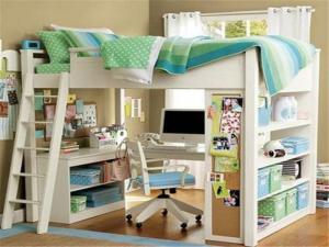 上下层儿童床书桌