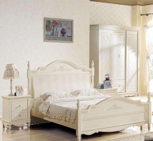 纯白色田园风格床