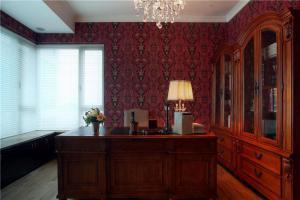 红色简欧书房装修效果图