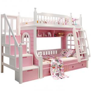 白粉色卧室二层床