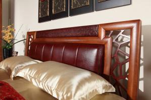 中式实木床软包床头