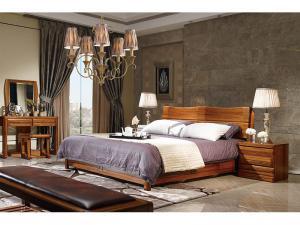 中式实木床实拍图
