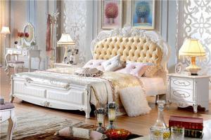 欧式床储物皮艺床