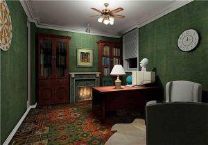 绿色背景家庭书房装修效果图