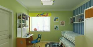 小孩书房装修效果图上下床设计