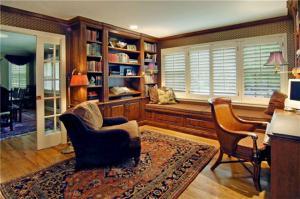 欧式转角书柜家庭书房装修效果图