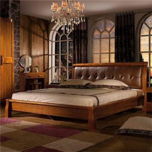 中式实木床水晶吊顶