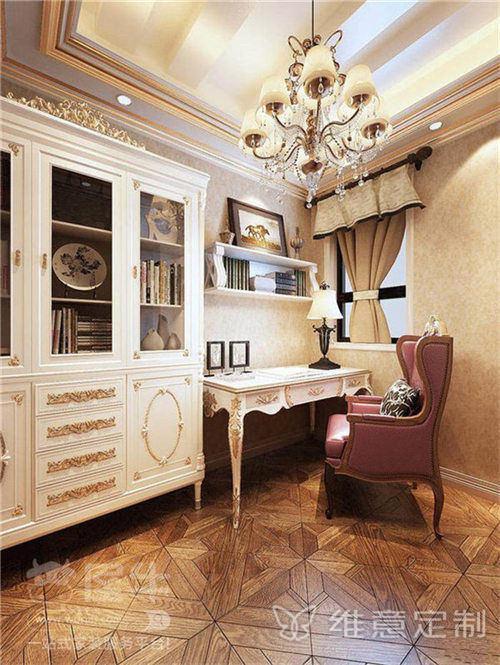 豪华典雅欧式书房装修效果图