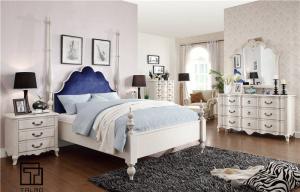 实木双人白色欧式床