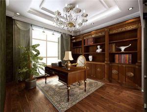 古典温暖欧式书房装修效果