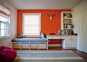 榻榻米书桌书柜组合效果图