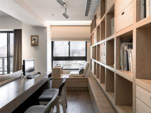 古雅风书桌书柜组合效果图