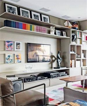 工业风电视书柜一体效果图