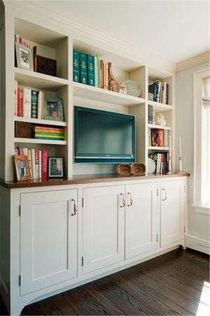 小型电视书柜一体效果图