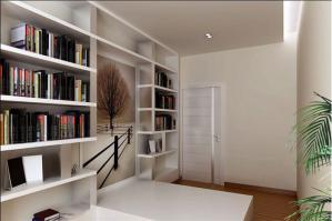 简洁白色书柜设计图