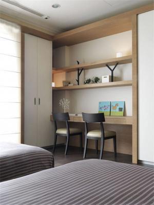 原木色卧室书桌