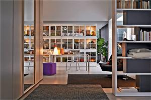 现代混搭风客厅书柜墙