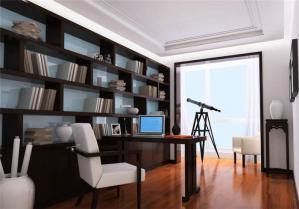 美式书桌书柜组合效果图