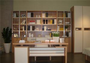 宜家素净书桌书柜组合效果