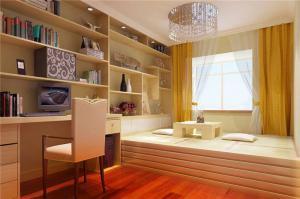 榻榻米卧室书柜墙
