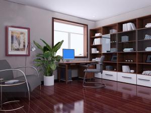 华丽书桌书柜组合效果图