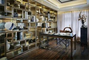 大容量书桌书柜组合效果图