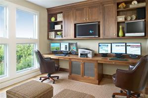 现代简易书桌书柜组合效果图