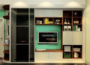 多功能电视书柜一体效果图