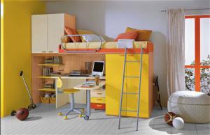 黄色活力儿童床书桌
