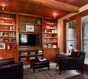 复古电视书柜一体效果图