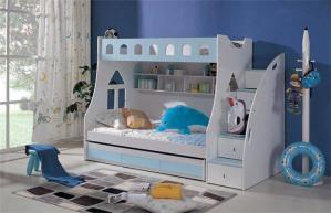 天蓝色儿童家具上下床
