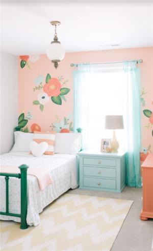 花卉背景墙儿童房定制