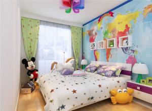 地图壁纸儿童房装修效果图