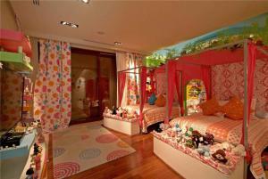 甜美风两个孩子儿童房设计