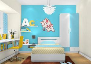 天蓝色儿童房墙纸效果图