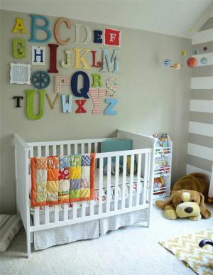 字母儿童房背景墙
