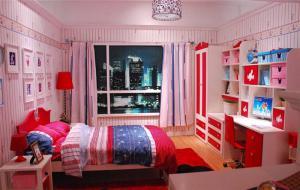 现代红白色立式书柜