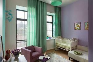 果绿色儿童房窗帘效果图