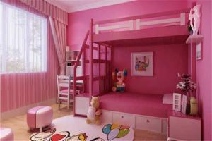 粉色儿童房窗帘效果图