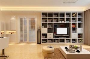 小户型客厅书柜背景墙